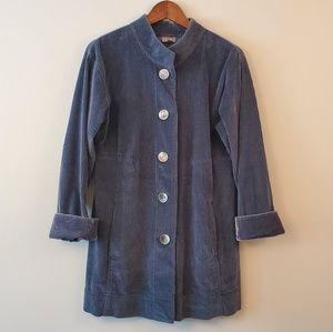 J.Jill corduroy velvet jacket blue gray size small